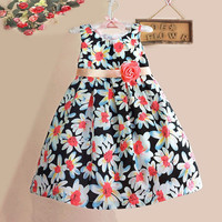 Girls Black Flower Print Summer Dress