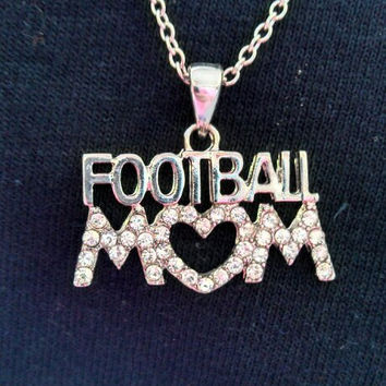 Football MOM Crystal Necklace