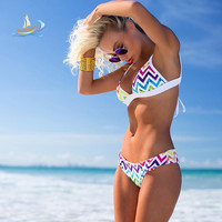 Women Bra Set swimwear  Beach Summer Dress Brazilian Swim Suit String Strippy bikini trikini Patchwork swimsuit girl
