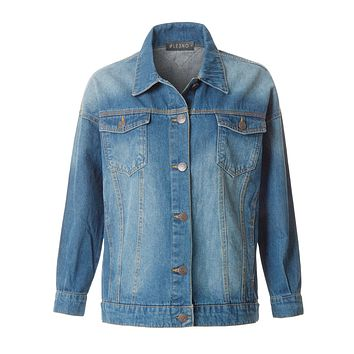 LE3NO Womens Oversized Long Sleeve Distressed Denim Jean Jacket with Pockets