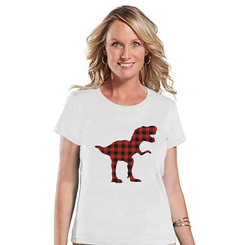 Women's Dinosaur Shirt - Buffalo Plaid Dino White T-shirt - Ladies Dinosaur Shirt - Plaid Dinosaur Shirt - Dinosaur Gift Idea for Her