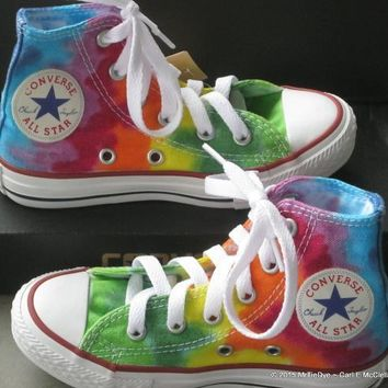 youth sz 10 5 rainbow hand dyed converse hi top sneakers