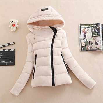 Down cotton-padded jacket and cap personality cotton coat White