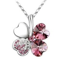 Lovers2009 Love Heart Short Necklace Lucky Clover Necklace Collarbone Necklace (Rose Red)