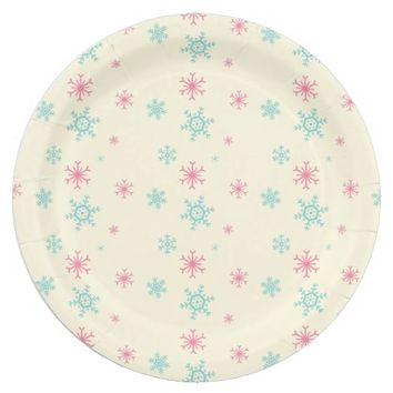 Pink And Blue Snowflake Pattern Christmas Wintery Paper Plate