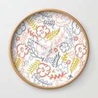 Floral Brush Wall Clock by Heather Dutton
