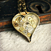 STEAMPUNK HEART NECKLACE - Handcrafted Brass Bezel with Resin and Vintage Watch Parts, Gold and Greenish Grunge Background - One of a Kind