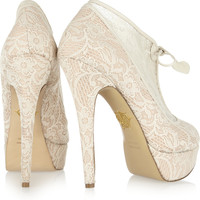 Charlotte Olympia | Minerva lace and satin ankle boots | NET-A-PORTER.COM