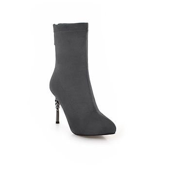 Pointed Toe Mid Calf Boots Stiletto Heel?Winter Shoes for Woman 1730