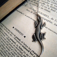 Lizard Necklace Silver Lacertilia on Long Silver Chain by Saout