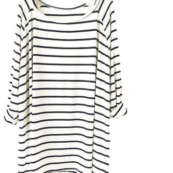 SheIn New Arrival Top Women's Fashion Clothing Striped Tees Casual White Black Long Sleeve Round Neck Straight Loose T-Shirt