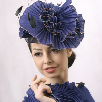 Ascot hat FFREE shipping! Royal blue Silk Royal Ascot Fascinator, Kentucky derby hat, Wedding head piece royal blue silk head piece Derby