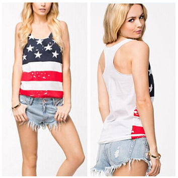 4th July American flag workout tank top