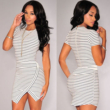 Off-White and Navy-Blue Striped Short Sleeve Dress