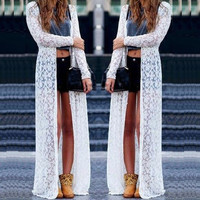 Sexy Women Ladies Beach Boho Open Cardigan Loose Long Lace Floral Maxi Tops Dress = 4904955652