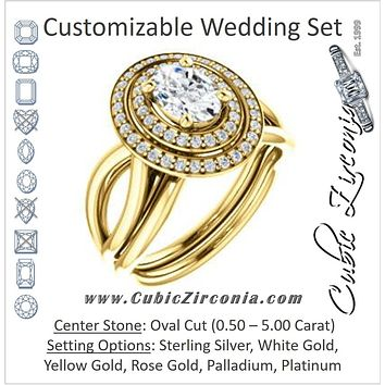 CZ Wedding Set, featuring The Magda Lesli engagement ring (Customizable Double-Halo Style Oval Cut with Curving Split Band)