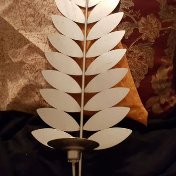 Gorgeous and Unique Silver Tone Metal Wall Sconce Candle Holder With Branch and Leaf Design