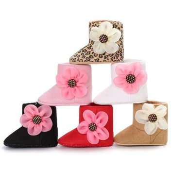Infant Girl Bowknot Fleece Snow Boots Toddler Warm Boots Princess Crib Shoes Baby Moccasins Shoes