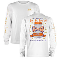 Simply Southern Sweet Tea Jesus Football Orange Purple Long Sleeve T-Shirt