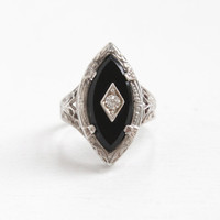 Vintage Art Deco Sterling Silver Simulated Onyx & Clear Rhinestone Ring - 1920s Size 4 Filigree Flower Statement Navette Shape Jewelry