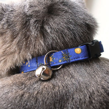 Galaxy Cat Collar, Breakaway Cat Collar, Handmade Cat Collar, Celestial Cat Accessories, Cute Pet Accessories, Fabric Cat Collar, Navy Blue