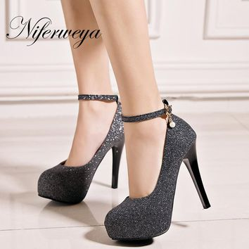 Spring/Autumn gold women pumps sexy Ankle Strap ladies shoes big size 33-45 Super High 12 cm Platform high heels zapatos mujer