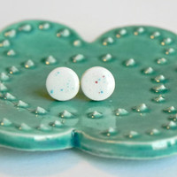 Ceramic Earrings Tiny White Round Studs with Blue and Red Dots Hypoallergenic Light Blue Pottery Posts
