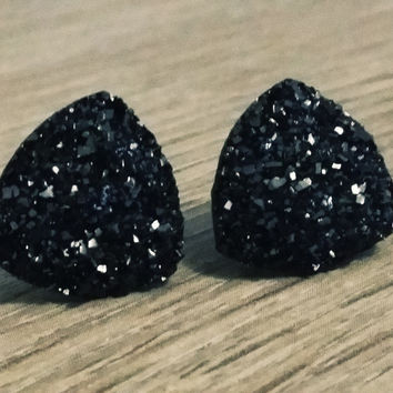 Druzy earrings-  Triangle iridescent black druzy earrings