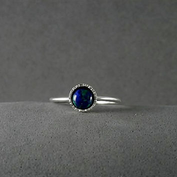 Blue stone galaxy ring,Stacking silver ring,sterling silver stacking ring,birthstone,gemstone ring,tiny,dalicate,gift ring