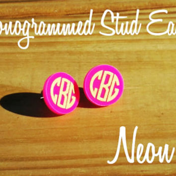 Neon Pink Acrylic vinyl Monogram stud post Earrings PLUS BONUS GIFT!!