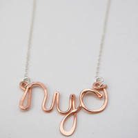 nyc new york city rose gold filled custom city love necklace