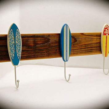 "Surfboard Hat Rack-Surfboard Coat Rack-Three Vintage Surfboard and Reclaimed Wood Hat Rack- 2 foot long & 8"" from top to bottom-Very Unique!"