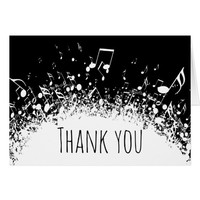 music thank you black and white card