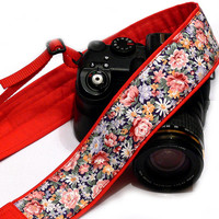 Flowers Camera Strap, Floral Camera Strap, Floral Red Camera Strap. Nikon, Canon Camera Strap, Women Accessories