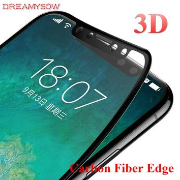 3D Curved Coated Carbon Fiber Edge Tempered Glass For iPhone X 8 8Plus 7 7Plus 6 6S 6Plus 6sPlus 9H Glossy Screen Protector Film