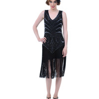 "Unique Vintage 1920s ""The Sable"" Black Beaded V Dropped Waist and Fringe Skirt Flapper Dress"