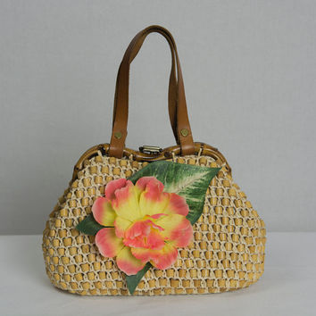 Vintage 1950s Tiki Pin-up Purse OOAK Redesigned Upcycled Repurposed