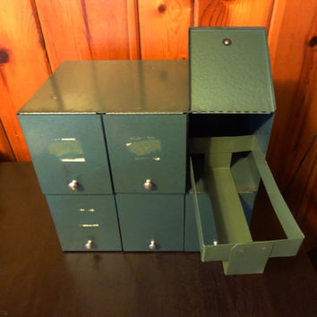 Vintage Moss Green Metal Prescription File Box / Industrial Cabinet