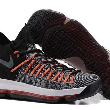 auguau Nike Men's Durant Zoom KD 9 Flyknit Mid-High Basketball Shoes Orange 40-46