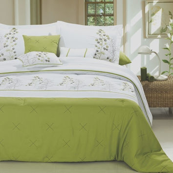 12pc PF. Lime Green/White Luxury Size: Queen Sheet Set Color: White