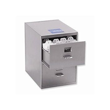Mini File Cabinet with Clock Business Card Holder