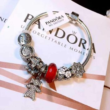 Authentic Pandora Women Fashion Crystal Plated Bracelet Jewelry 925 Sterling Silver Inspirationa Red