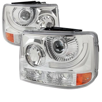 99-02 CHEVY SILVERADO HEADLIGHT 1 PC PROJECTOR HEADLIGHT - CHROME (ONLY FITS WITH SPEC-D VERTICAL FACELIFT CONVERSION GRILL)