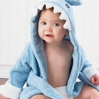 Hooded Sea-Blue Terry Shark Robe with Front Ties and White Cuffs