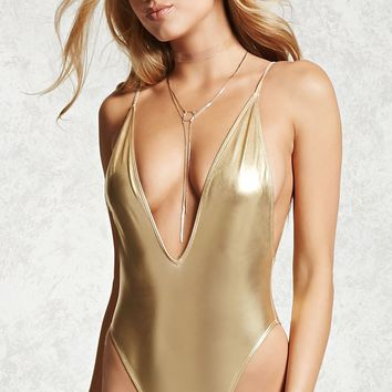 Metallic One Piece Swimsuit