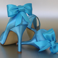 Wedding Shoes -- Beyond the Sea Blue Peep Toe Wedding Shoes with Matching Bow on the Heel