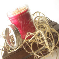 Soy Scented Candle - Candied Apple scented Soy Candle -- 8 ounce Mason Jar