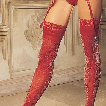 Stockings - Opaque Knit w/Stretch Lace Top (One-Size)