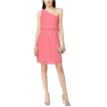 Adrianna Papell Womens Chiffon Embellished Cocktail Dress Pink 14