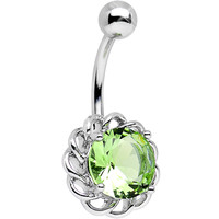 Light Green Cubic Zirconia Sparkle Flower Belly Ring | Body Candy Body Jewelry